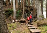 From the anchorage to the site is a boardwalk to prevent wear and tear on the forest floor.