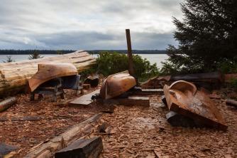 longboat and canoe
