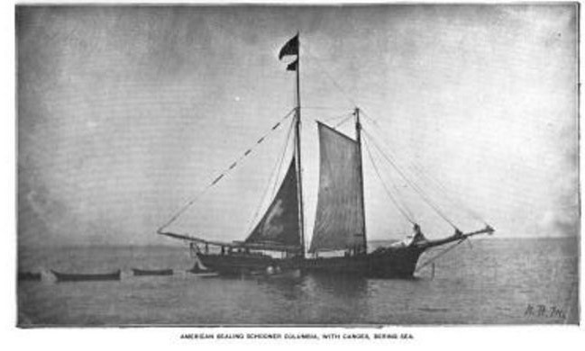 schooner with canoes